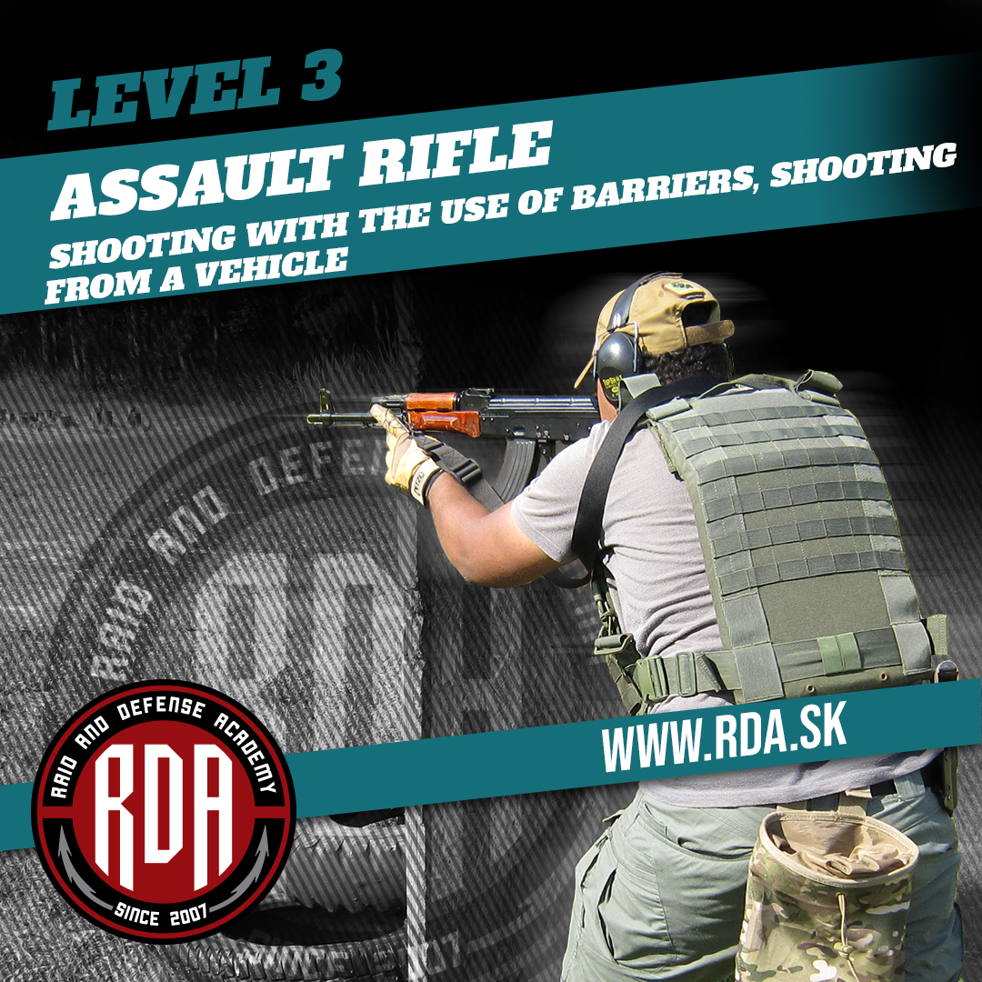Assault Rifle Level 3 - Shooting with the use of barriers, shooting from a vehicle