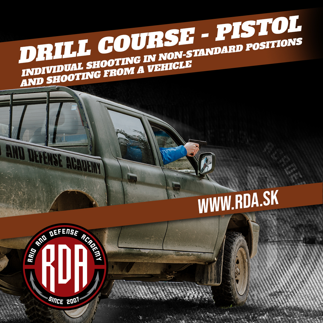 Drills Course - Pistol - Individual shooting in non-standard positions and shooting from a vehicle.