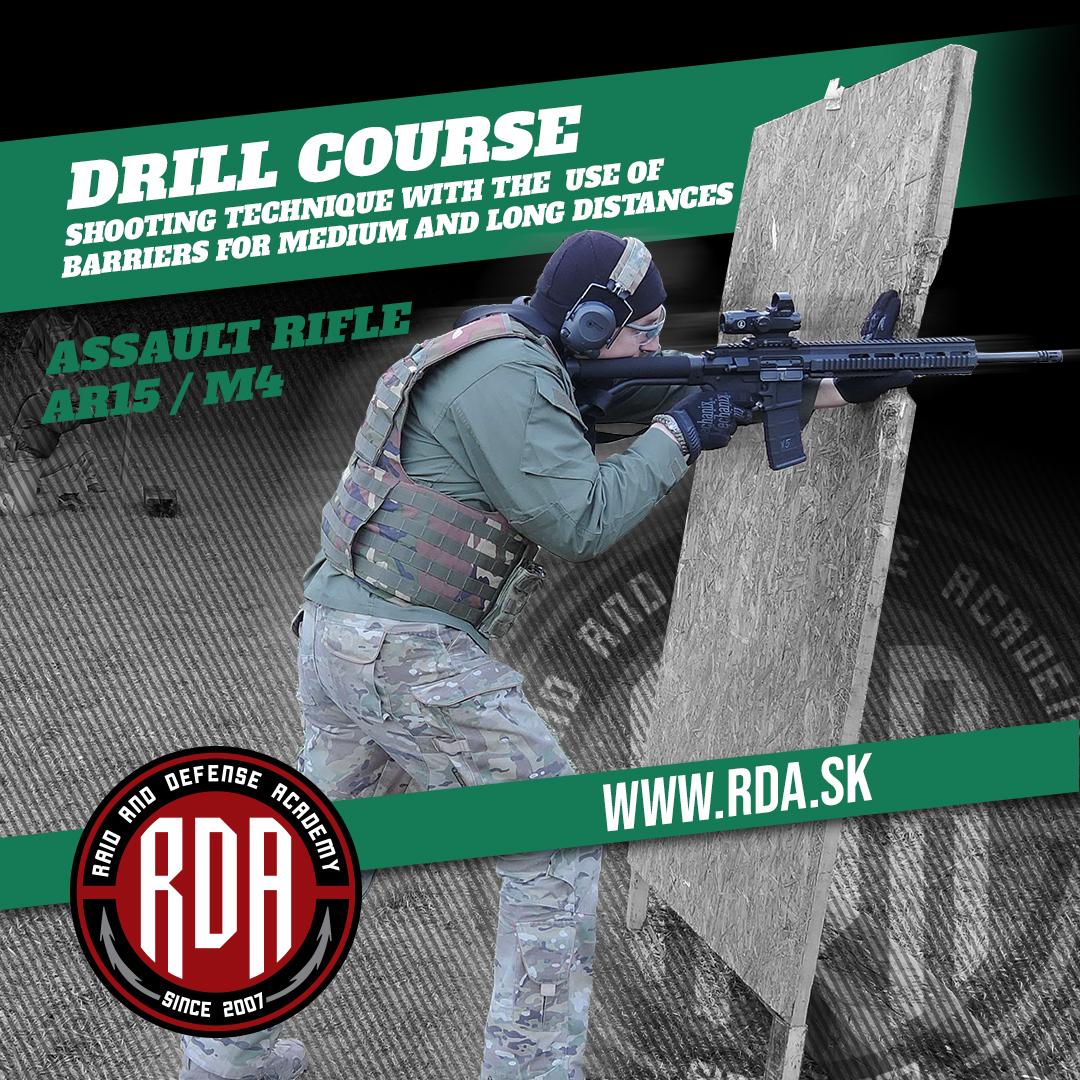 Drills Course - Assault Rifle AR15 / M4 - Shooting technique with the use of barriers for medium and long distances.
